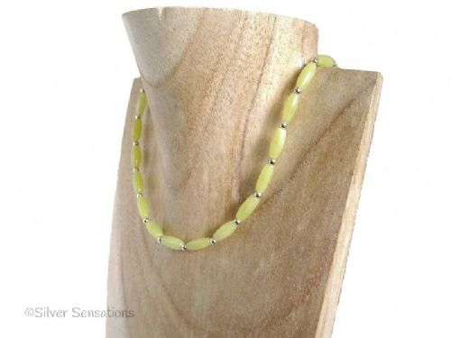 Pastel Lemon Yellow Olive Jade Rice Beads & Sterling Silver Slim Necklace
